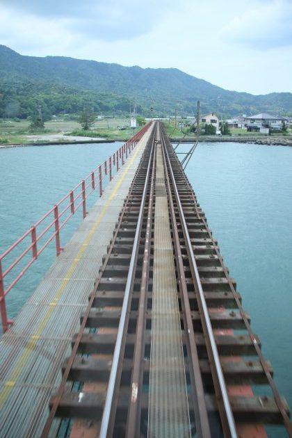 京都丹後鉄道あかまつ号の車窓から見る由良川橋