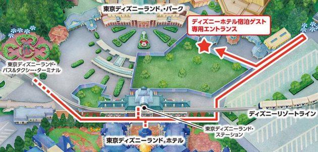 東京ディズニーランドへの入園場所(ディズニーホテル宿泊者専用エントランスの地図